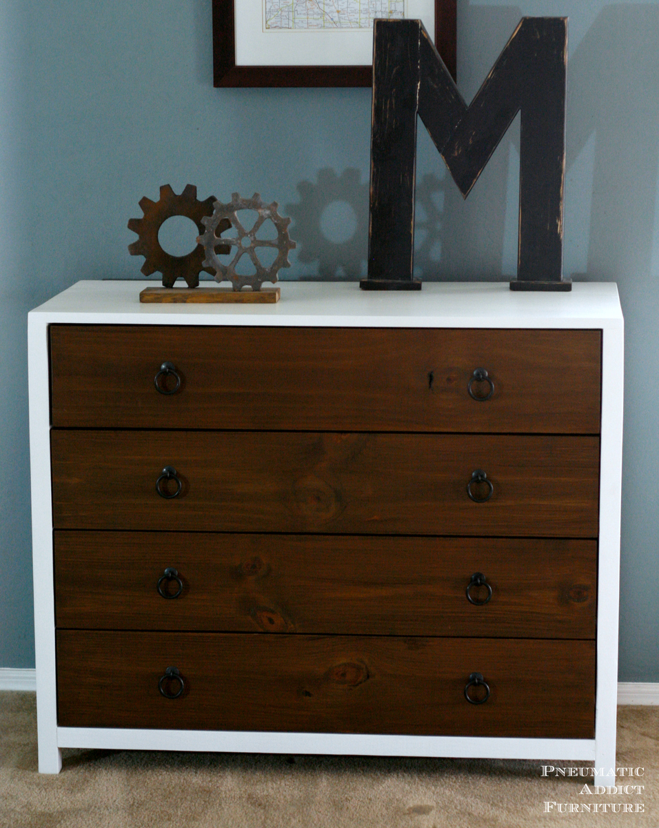 ana white modern white dresser with wood drawers diy