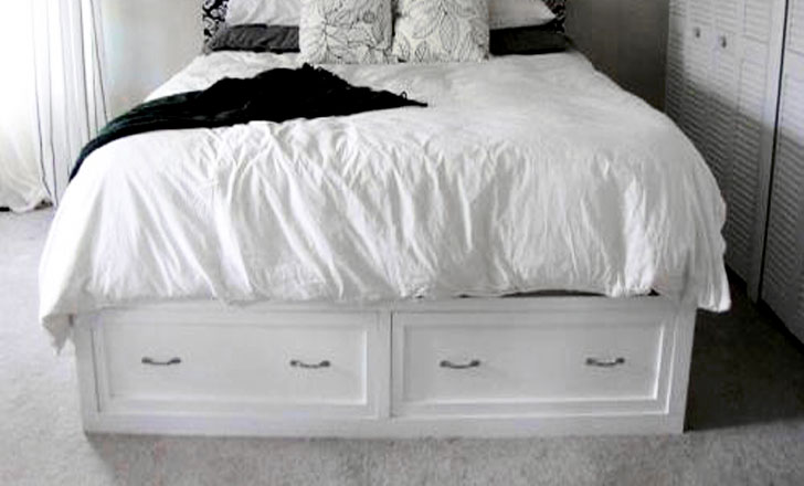 diy storage bed with drawers painted white