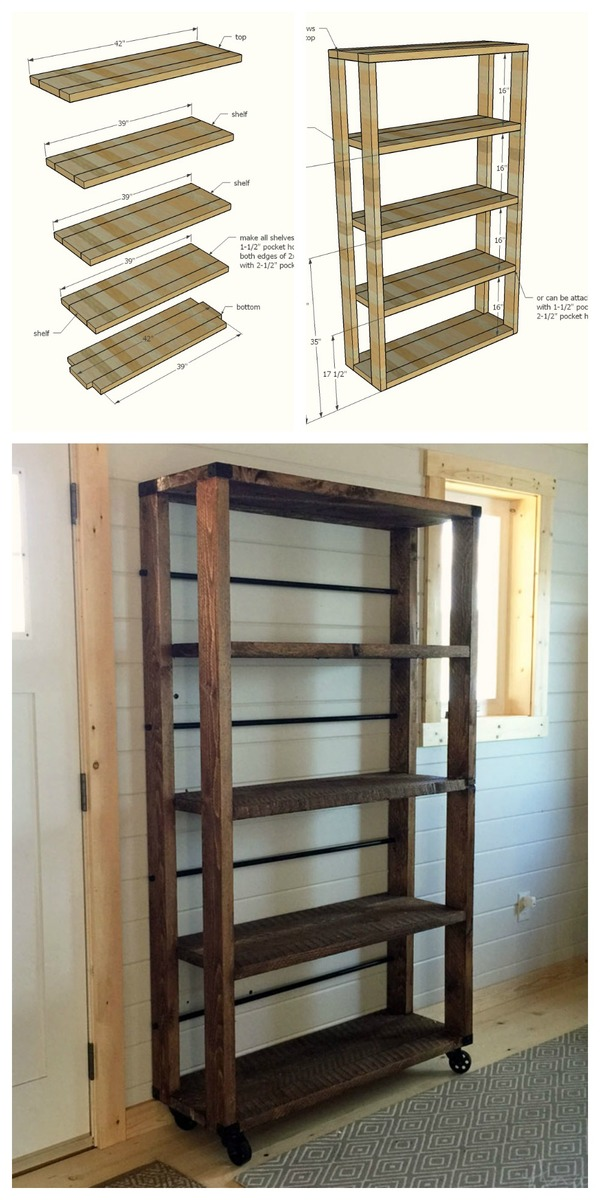 Easy how to build reclaimed wood salvaged look rolling shelf - modern industrial style.