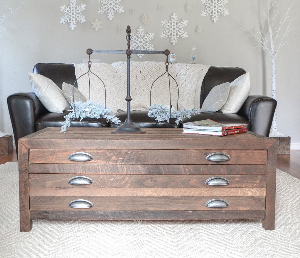 Ana white reclaimed wood coffee table with printmaker