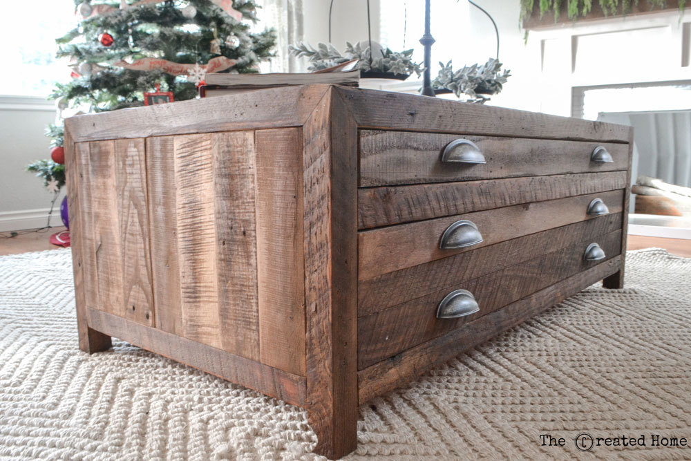 How to build a reclaimed wood coffee table with printmaker style drawers -  easy to build, simple diy drawer slides. - Ana White Reclaimed Wood Coffee Table With Printmaker Style