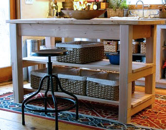 Featuring Added Shelves Two Large Drawers And A Wood Top This Solid Kitchen Island Was Built By Michaela At The Garden S Eden