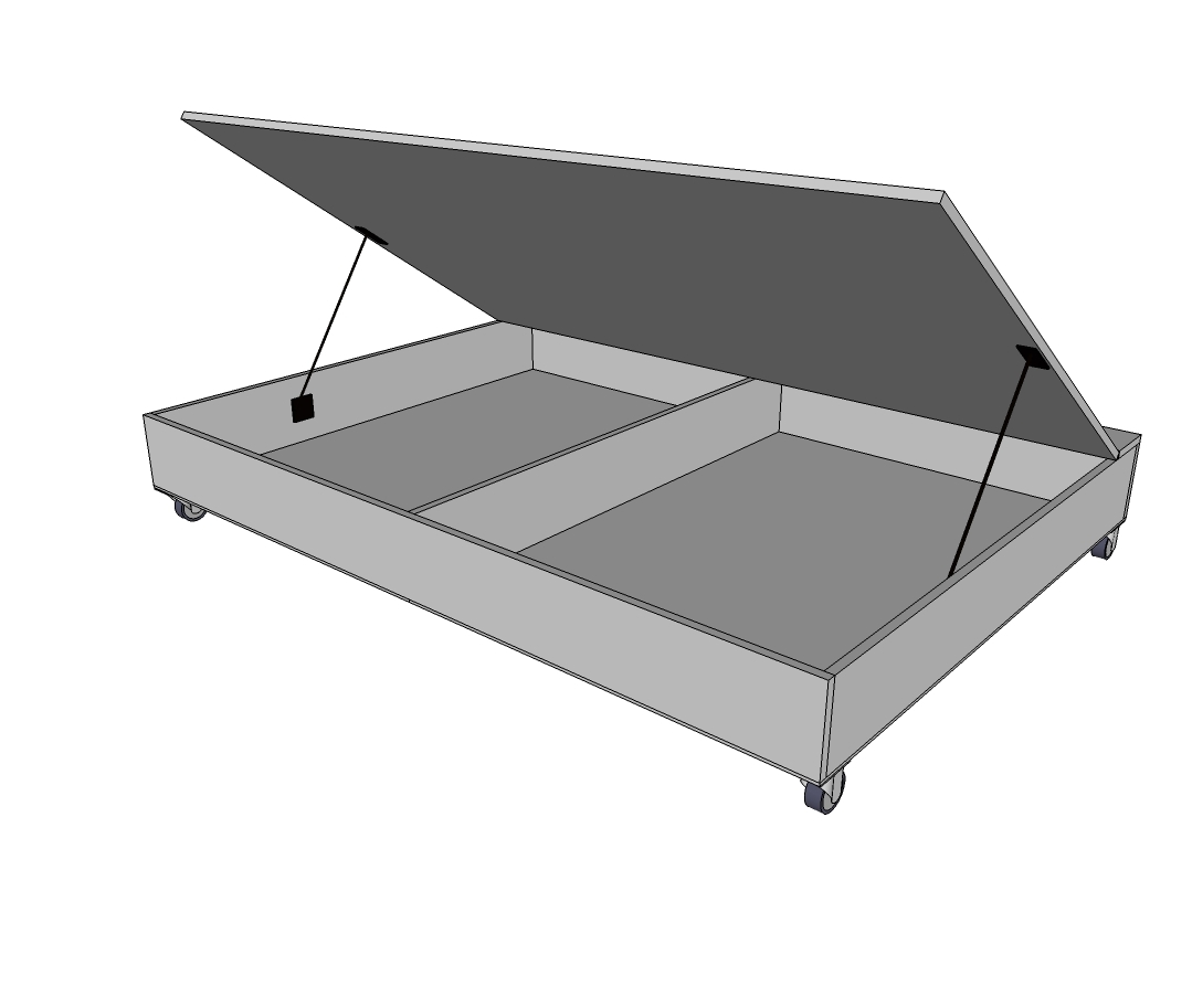 Storage bed plans - Attach The Full Sheet Of Plywood To The 1x6 Board With Hinges Note I Also Applied Iron On Edge Banding Around The Three Exposed Sides Of The Plywood To