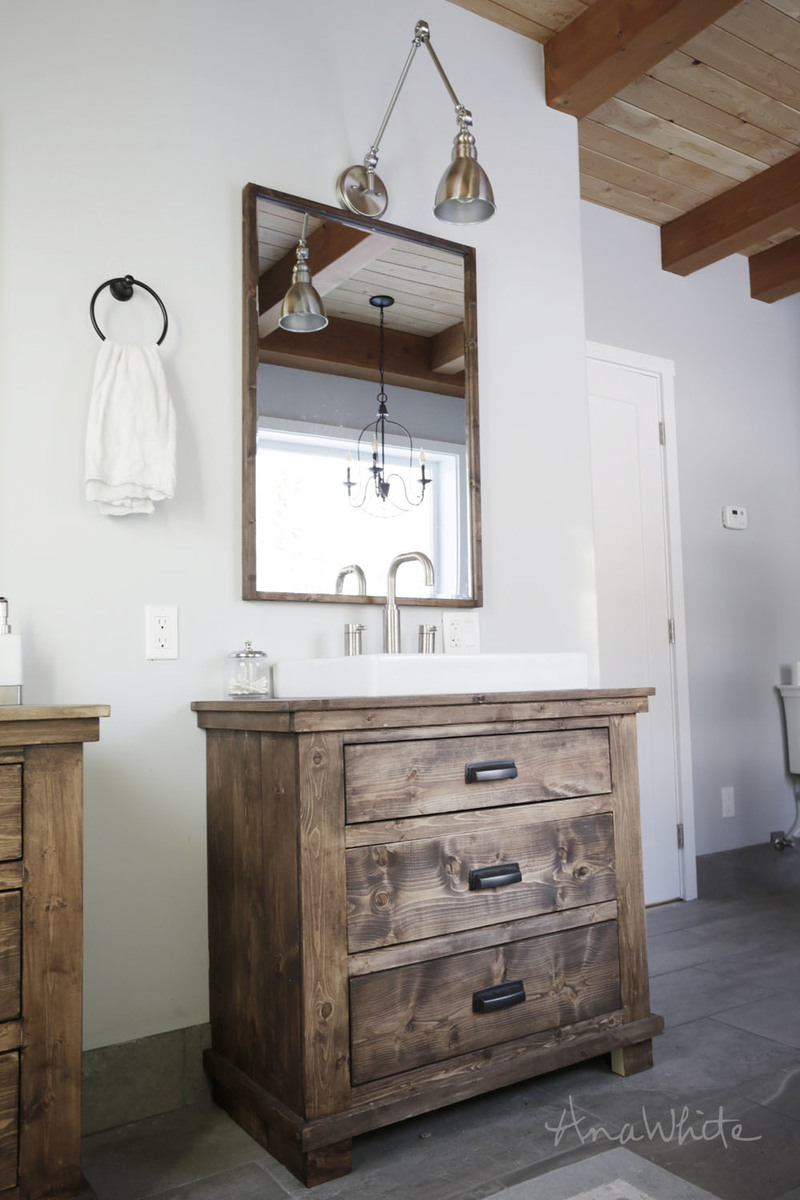 Rustic bathroom vanities diy plans by ana white com