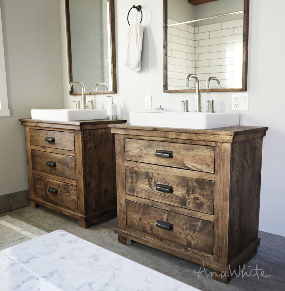two bathroom vanities rustic dark wood stained with three drawers each