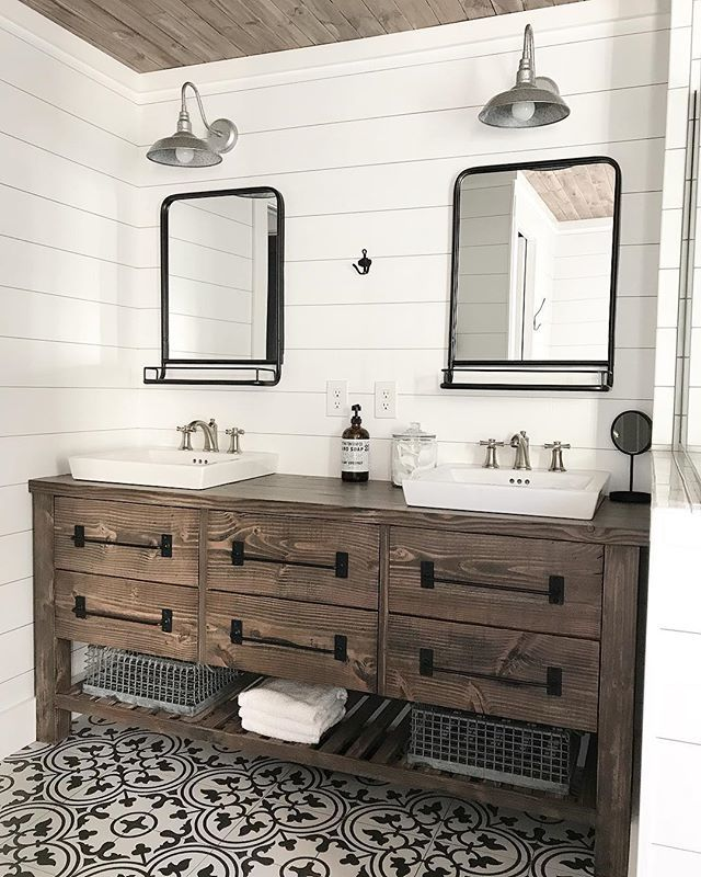 Ana White | Rustic Farmhouse Double Bath Vanity with AngelaRoseDIYHome - DIY Projects