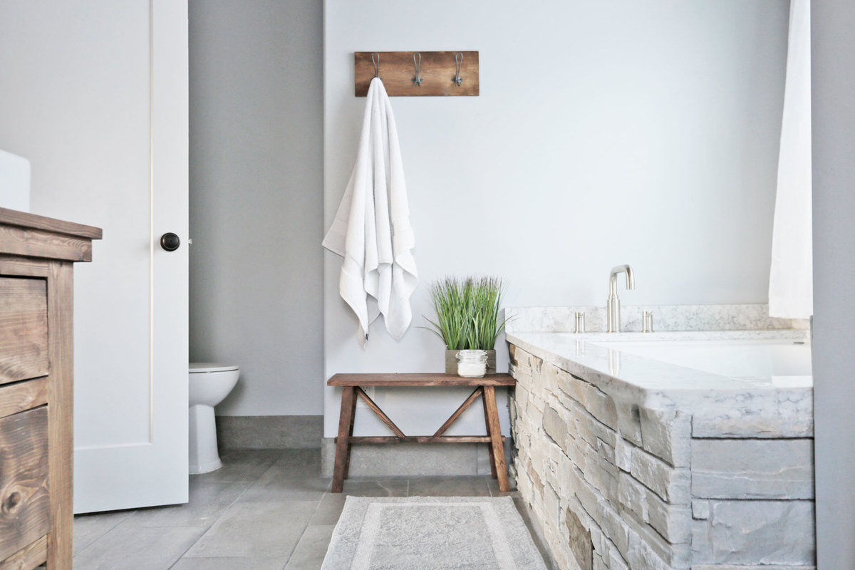 Rustic Modern Farmhouse Bath Tour + Sources | Ana White ... on Rustic Farmhouse Bathroom  id=76166