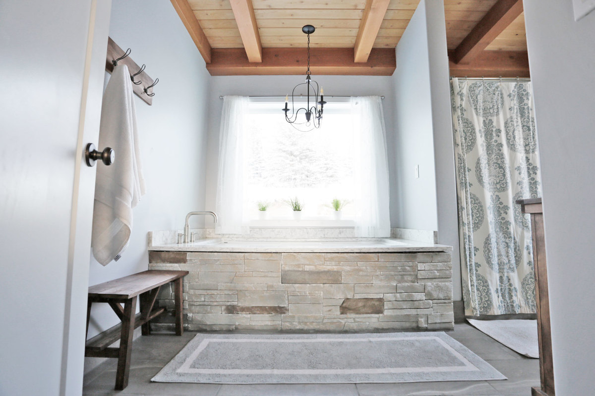 Rustic Modern Farmhouse Bath Tour + Sources | Ana White ... on Rustic Farmhouse Bathroom  id=75452