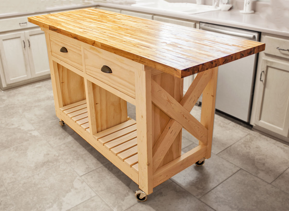 Wide Rustic X Kitchen Island | Ana White
