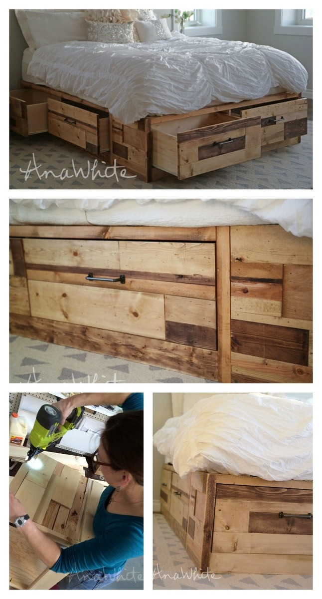reclaimed wood storage bed with drawers