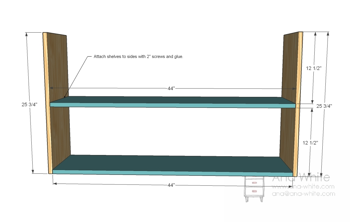 Simple Bookshelf Plans - attach the shelves.