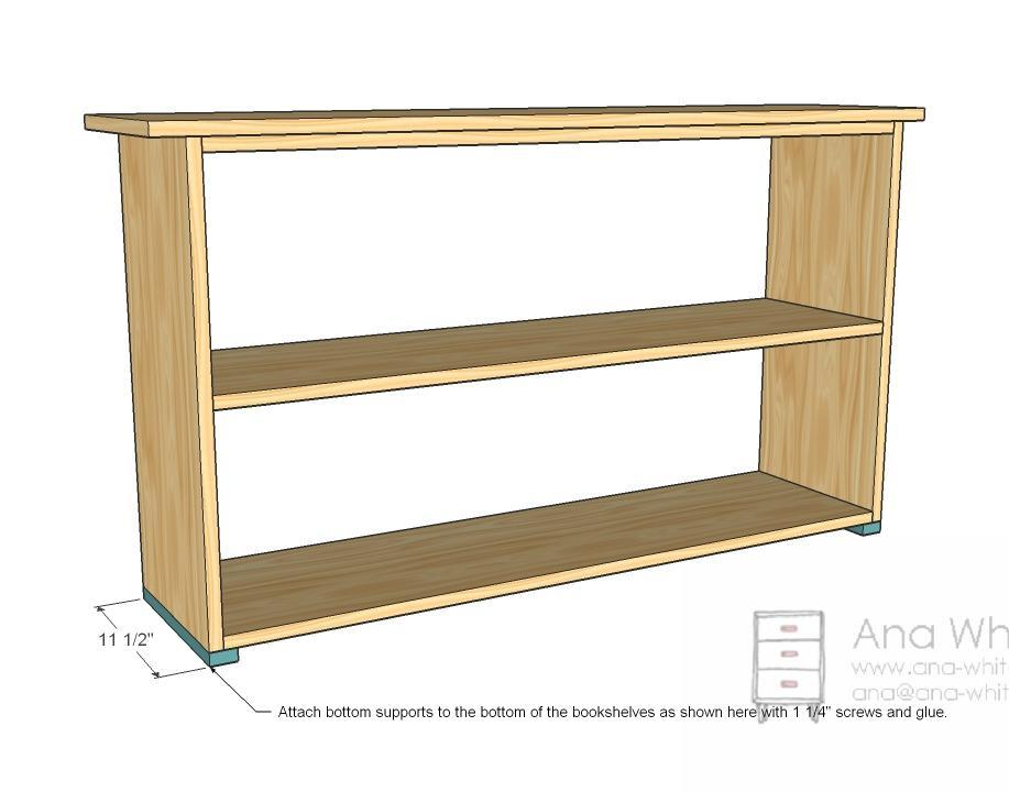 Simple Bookshelves Plan - Bottom Supports. - Ana White Grace's Bookshelves - Plans For Two - DIY Projects