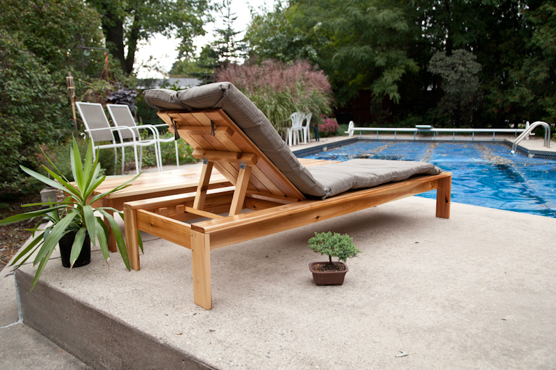 Ana white single simple modern outdoor lounger diy for Build chaise lounge