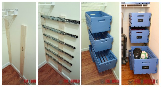 Perfect My friend Brad from Fix This Build That created a ton of storage with his floating crates on drawer slides