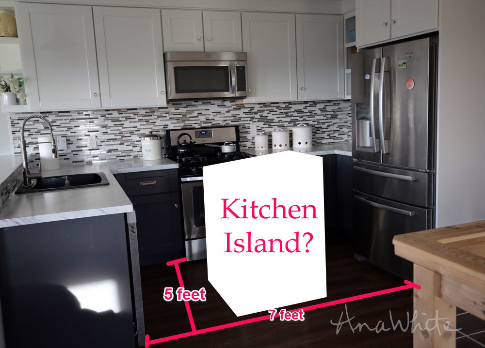 superb How To Add A Kitchen Island #3: We usually just pull the trash out at dinnertime, and set it in the middle  of the kitchen. Not the prettiest solution.
