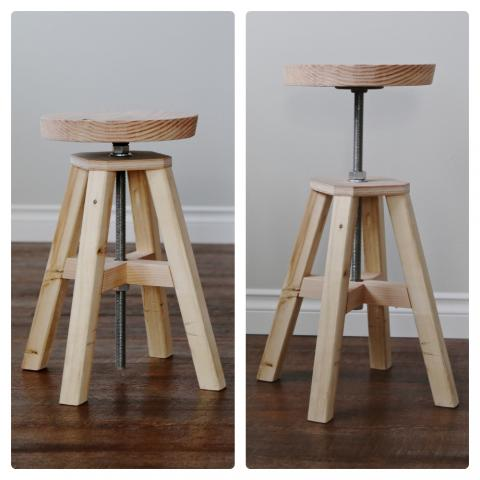 Adjustable Height Wood and Metal Stool