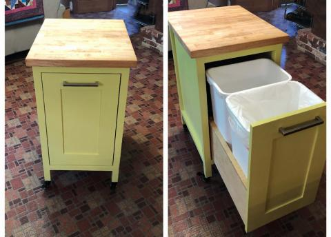 Small Kitchen Island With Slide Out, Wood Trash Bin Cabinet Plans