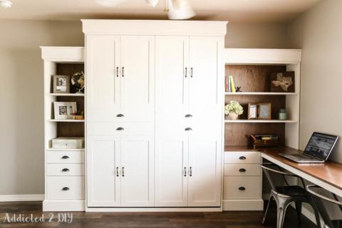 Modern Farmhouse Murphy Bed and Bookcase Featuring Addicted 2 DIY