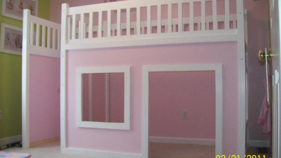 pink playhouse loft bed