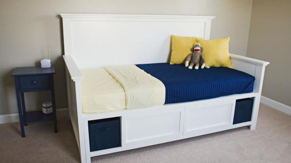 Hailey Storage Daybed With Back And, Ana White Twin Storage Bed