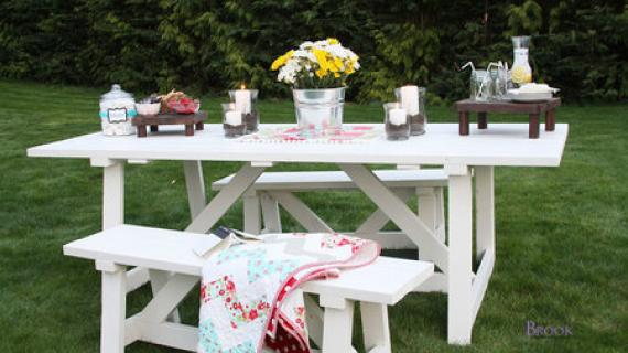 farm table outdoor painted white