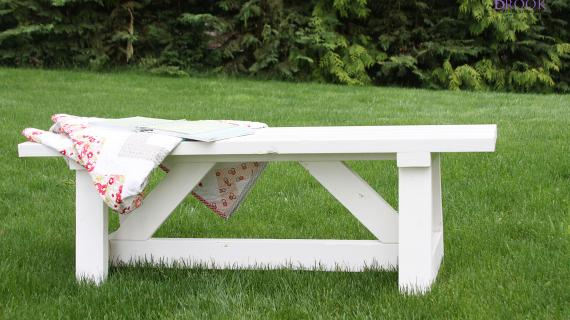 outdoor wood bench farmhouse style