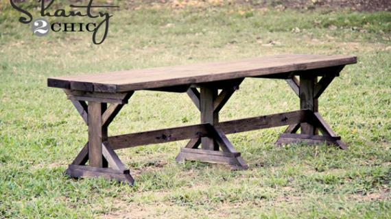 farmhouse bench with three legs and supports