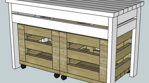 2x4 Storage Table & Bins