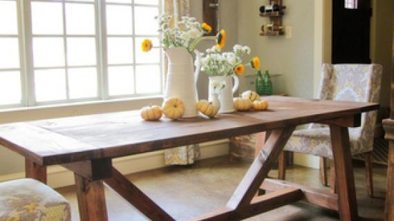 rustic farmhouse table angle beam
