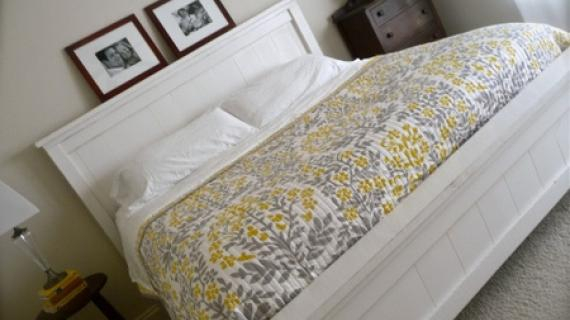 white farmhouse bed in king size