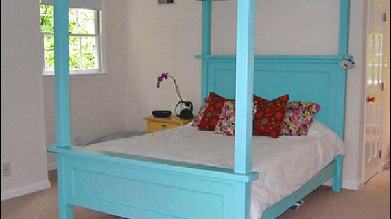 farmhouse bed with canopy added to the top