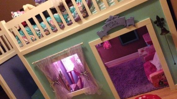 Full Size Playhouse Loft Bed with Storage Stairs