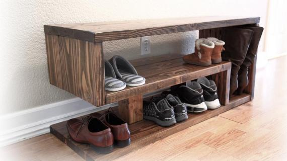 modern shoe rack with three rows made of stained wood