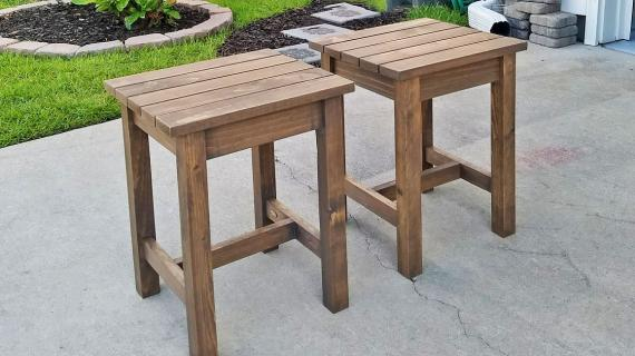 adirondack stools stained a chocolate brown