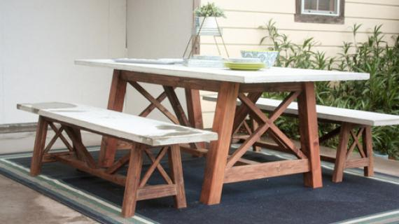 X Base Outdoor Concrete Table and Bench Set