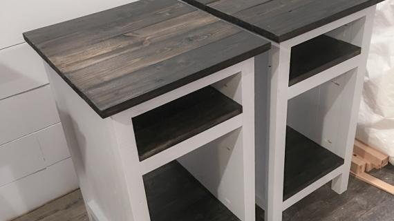 Farmhouse Bedside table with shelves