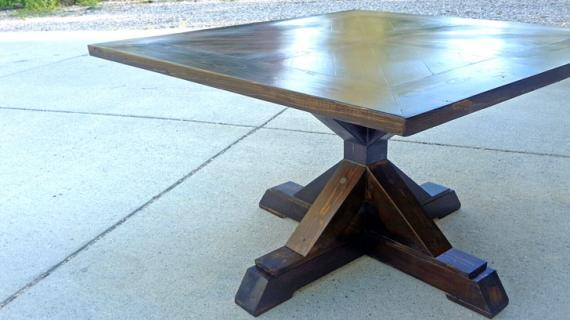 farmhouse style pedestal table with 4x4 base