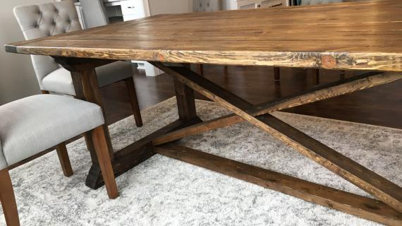 formal farmhouse table with X base
