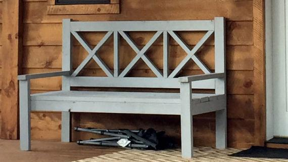 front porch bench rustic x design easy to build