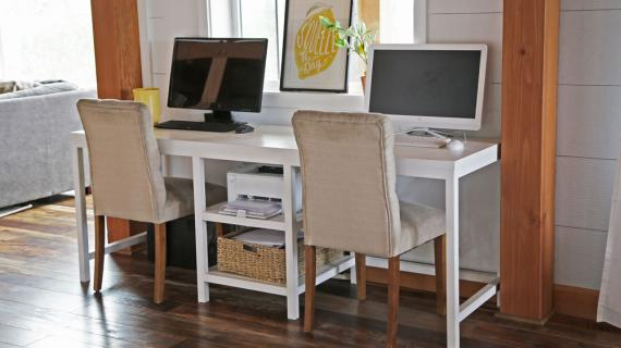 white double desk modern style parsons in shared home office