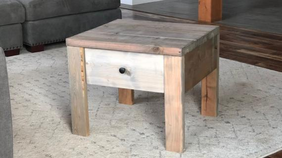 modern farmhouse nightstand with reclaimed wood