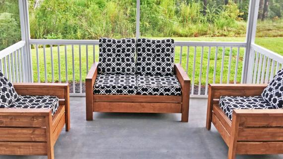 outdoor lounge furniture stained wood with cushions built from plans