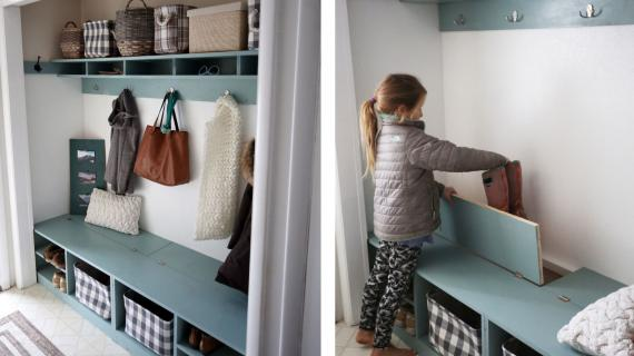 mudroom built in closet with hinge up boot storage compartment