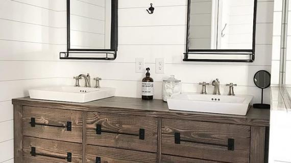 beautiful farmhouse style rustic wood vanity stained dark walnut in white bathroom
