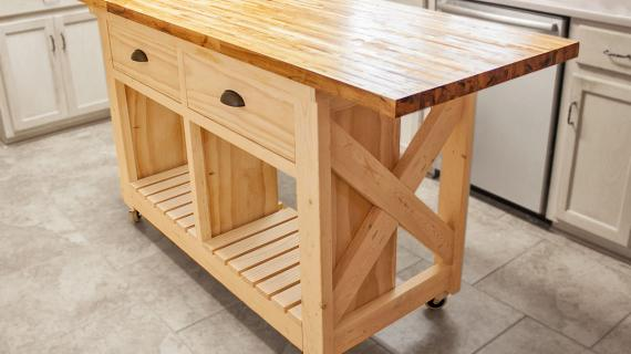 rustic x kitchen island with butcher block top