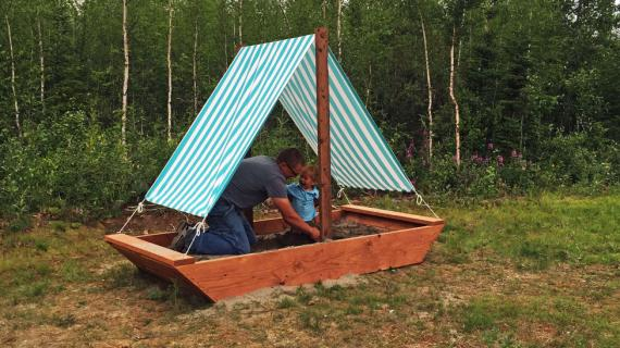 boat sandpit diy project