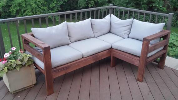 One Arm Outdoor Sectional Piece | Ana White