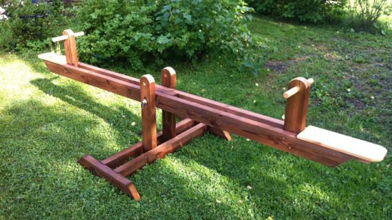 wood teeter totter or seesaw woodworking plans