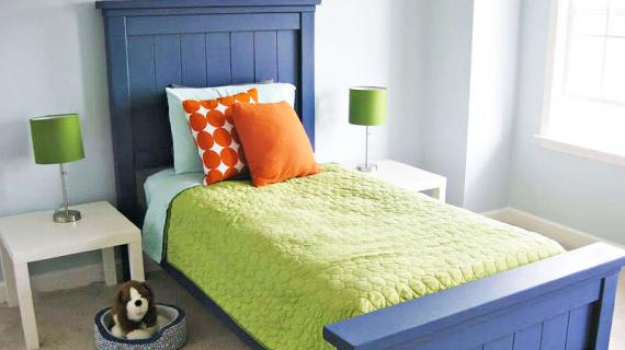 farmhouse bed twin sized boy room painted blue