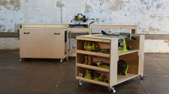 roll away workbench with miter saw stand